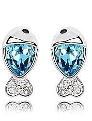 Luxury Austria Crystal Stud Earrings for Women Fish Earrings Fashion Jewelry Accessories Silver Plated