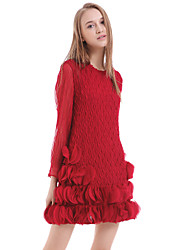 Women's Ruffle Casual/Daily Sheath Dress,Solid Round Neck Above Knee Long Sleeve Pink/Red/Black Polyester Summer