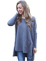Women's Solid Blue Cardigan , Boho Long Sleeve