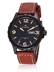 Men NAVIFORCE watch Quartz Waterproof Sports Watch Calendar Genuine Leather Wristwatch (Assorted Color) Wrist Watch Cool Watch Unique Watch