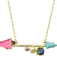 Colorful Imitation Gemstone Anchor Pendant Necklace