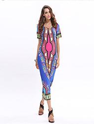 De las mujeres Tallas Grandes Vestido Sexy / Playa Un Color / Estampado Midi Escote en U Poliéster