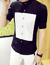 Men's Print / Solid Casual Shirt,Cotton Short Sleeve Black / White