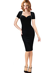 Women's Sexy Solid Bodycon Dress , V Neck Knee-length Cotton / Polyester