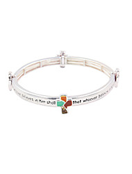 """Fashion Women Silver Cross """"That Whoever Believes in Him Shall""""Metal Elastic Bracelt"""