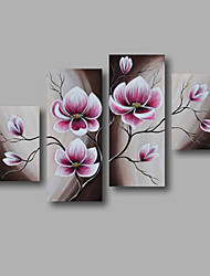 "Ready to Hang Stretched Hand-painted Oil Painting 48""x40"" Canvas Wall Art Modern Flowers Purple Brown"