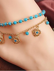 New Unique Bohemia Two Piece Flower Charm Tassel Chain Turquoise Beads Sandal Anklet