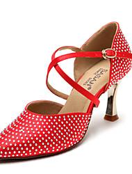 Non Customizable Women's Dance Shoes Latin / Salsa Flocking / Sparkling Glitter Flared Heel Black / Red