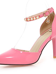 Women's Shoes Patent Leather Stiletto Heel D'Orsay & Two-Piece Sandals Party & Evening Black Pink White Beige