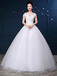 A-line Wedding Dress Floor-length Off-the-shoulder Lace / Satin with Pattern / Lace