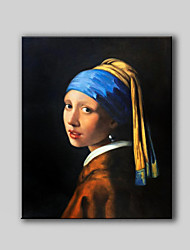Canvas Hand-Painted Oil Painting Girl with a Pearl Earring, 1665 by Johannes Vermeer Without Any Frame