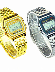 Men's Women's Couple's Dress Watch Digital Stainless Steel Band Silver Gold Strap Watch