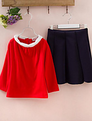 Age Season Fashion Long-sleeved T-shirt Short Skirt 2 Sets OfThe Girls
