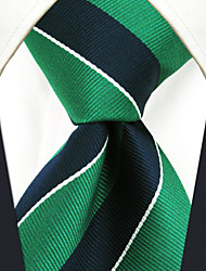Men's Tie Green Stripes Fashion 100% Silk  Business
