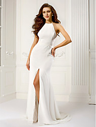 Formal Evening Dress - Plus Size / Petite Sheath/Column Halter Sweep/Brush Train Chiffon