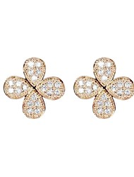 Austria Crystal Stud Earrings for Women Clover Earrings Fashion Jewelry Accessories Silver Plated