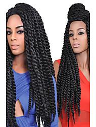 Dark Brown / Medium Brown / #1B / Black Havana Twist Braids Hair Extensions 12-24inch Kanekalon 2 Strand 80g/pcs gram Hair Braids