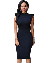 Women's  Black Ruffle Sleeves Body-conscious Midi Dress