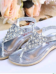 Women's Summer Comfort Leatherette Casual Flat Heel Crystal Silver / Gold