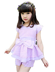 Girl's Blue / Pink / Purple / Yellow Clothing Set,Bow Cotton Summer