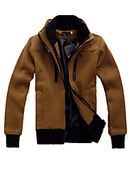 Men cultivating long-sleeved collar double zipper jacket casual fashion hit color brushed sweater coat