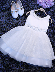 A-line Short / Mini Flower Girl Dress - Tulle Sleeveless Scoop with