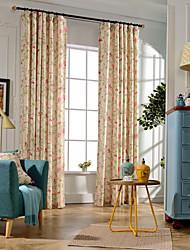Two Panels Modern Vine / Floral Bedroom Linen/Polyester Blend Blackout Curtains Drapes