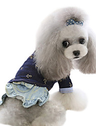Dog Shirt / T-Shirt / Shirt Blue Dog Clothes Spring/Fall Jeans Fashion