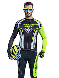 Santic Men's Long Sleeve Cycling Jersey + Tights 3D Slim Cut Breathable Cycling Suit - Black+Green