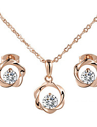 HKTC Concise 18k Rose Gold Plated Clear Simulated Diamond Crystal Wind Wheel Pendant Necklace Earrings Set