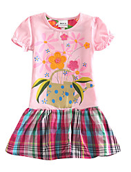 Girl's Dress Summer New Style Kids Clothes Plaid Skirt Children Dresses(Random Printed)