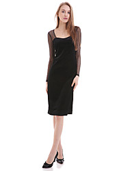 occasionnel / jour solide petite robe noire de boutique de les femmes, col rond au-dessus du genou polyester