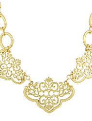 Fashion Design Jewelry Gold Color Retro Geometric Hollow out Flower Collar Choker Necklace Female