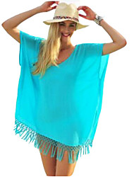 Women's Solid Loose Large Size Tassels Round Neck Short Sleeve Blouse
