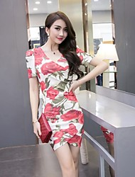 Women's Party/Cocktail Sexy Bodycon / Loose Dress,Floral V Neck Above Knee Short Sleeve Red Polyester Summer