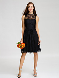 Knee-length Lace Bridesmaid Dress A-line Bateau