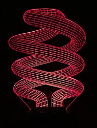 visuelle 3d spirale de changement de couleur a conduit la décoration usb lampe de table cadeau coloré nuit lumière