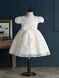 A-line Short / Mini Flower Girl Dress - Lace Short Sleeve Jewel with