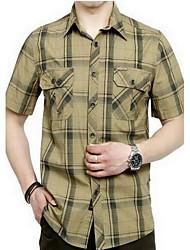 Men's Plaids Casual Shirt,Cotton Short Sleeve Green