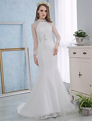 Trumpet / Mermaid Wedding Dress Court Train High Neck Lace / Satin with Embroidered