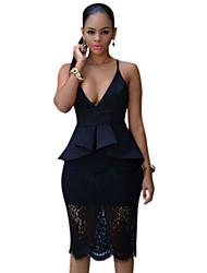 Women's  Plus Black Crossover Straps Floral Lace Overlay Peplum Dress