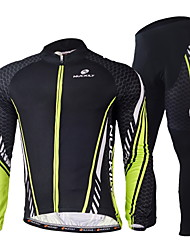 Nuckily Cycling Jersey with Tights Men's Long Sleeves Bike Sleeves Clothing Suits Quick Dry Windproof Ultraviolet Resistant Moisture