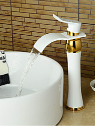 Bathroom Sink Faucet Modern Tall  Waterfall Wide handle Paint  Ti-PVD - White+Golden
