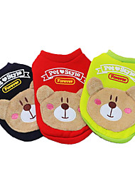 Dog Sweatshirt Red Green Blue Black Pink Dog Clothes Winter Spring/Fall Bear Cute Casual/Daily
