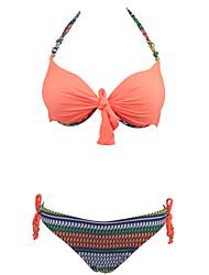 Damen Bikinis - Floral Push-Up / Bügel-BH Nylon / Elasthan Halfter