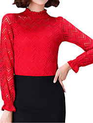 Spring Plus Size Women's Lace Splicing Round Neck Long Sleeve Slim Bottoming T-Shirt Tops Blouse