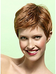 Short Length Straight Hair European Weave Light Brown Hair Wig