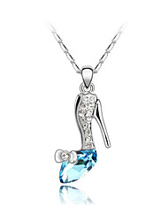 Austria Crystal High-heeled Shoes Drop Pendant Necklace,Fine Jewelry
