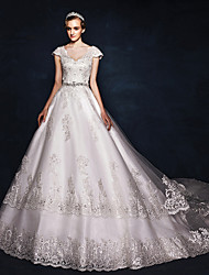 Ball Gown Wedding Dress Floral Lace Court Train V-neck Satin Tulle with Lace