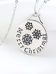 Christmas Merry Christmas Letter Carved Female Necklace